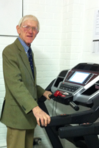 Councillor Stevenson, trying out the treadmill bought with the funds from the council at our Draycott venue